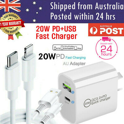 AU18.99 • Buy 20W DUAL USB + Type-C Wall Adapter Fast Charger PD Power For IPhone 12 11 Pro