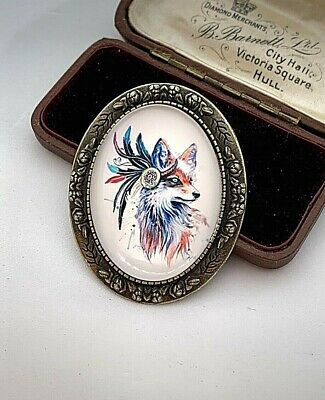 Gorgeous Native American FOX - Spirit - VTG Effect Cameo Costume Brooch - BN • 4.99£