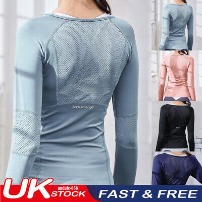 £8.99 • Buy UK Women Ladies Long Sleeve Sports Tops Seamless Yoga Fitness Running Gym Outfit