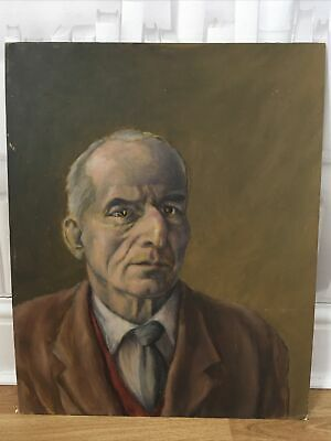 £85 • Buy Vintage Male Portrait Oil Painting . Oil On Board Lovely Warm Colour