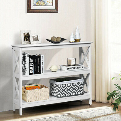 £52.99 • Buy 3-Tier Console Table X-design Wooden Hall Desk Side End Table W/ Shelf White