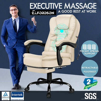 £109.95 • Buy ELFORDSON Massage Office Chair Gaming Seat With Footrest PU Leather Cream