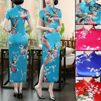 £9.61 • Buy Chinese Traditional Dress Womens Floral Cheongsam Long Qipao Size:S To 2XL 2019