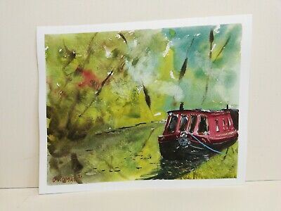 £24.50 • Buy Red Canal Boat Moored By Trees Narrow Barge Art Original Watercolour Painting 4