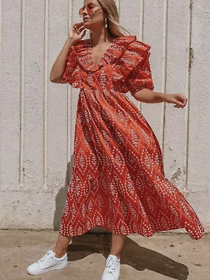 AU3.95 • Buy Bnwt Zara Red Midi Flowing Ruffled Dress Cutwork Embroidery Puff Sleeves Xs