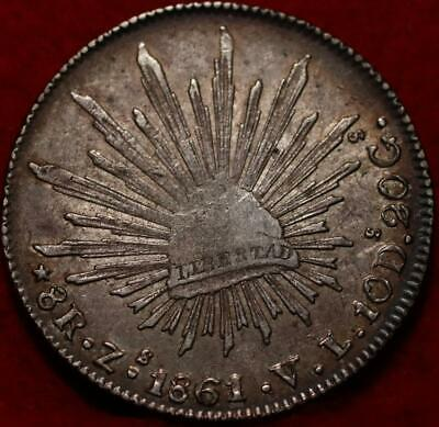 AU12.33 • Buy 1861 Mexico 8 Reales Silver Foreign Coin
