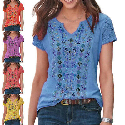 AU24.99 • Buy Womens Summer Casual Loose T-shirt Ladies V Neck Floral Blouse Tops Pullover Tee