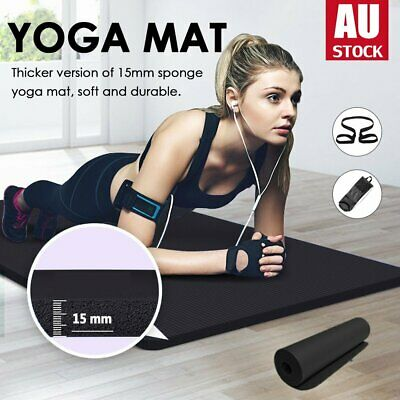 AU13.05 • Buy 10mm / 15mm Thick Yoga Mat Pad NBR Nonslip Exercise Fitness Pilate Gym Durable