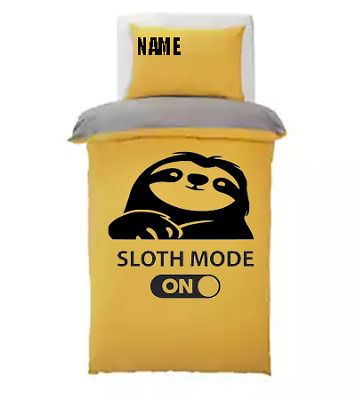 £35.99 • Buy Sloth Mode Kids *personalised* Sand Duvet Cover/bedding Set **double**