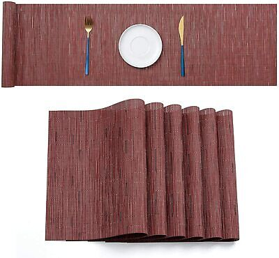 AU30.59 • Buy PVC Woven Placemat Dining Table Runner Mats Kitchen Heat Resistant Pad Washable