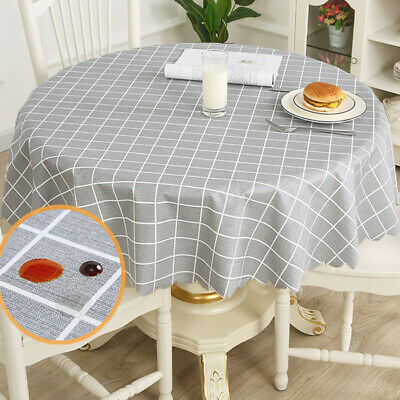 AU23.75 • Buy Round Grid PVC Table Cloth  Dining Table Cover Protector Waterproof Oilproof GR