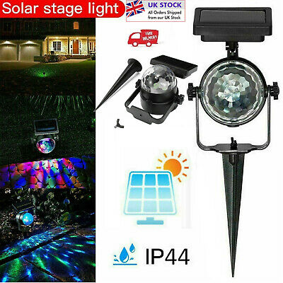 Solar Powered Stage Light RGB Colour Changing LED Spotlight Garden Party Lamp UK • 9.91£