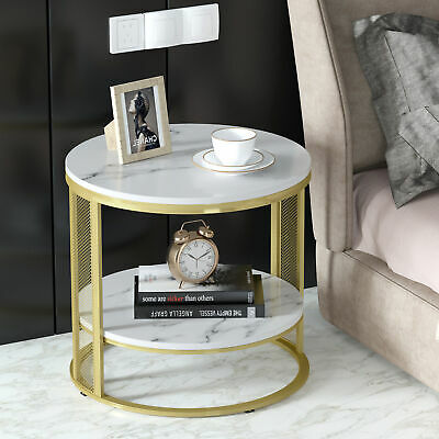 £64.97 • Buy Adjustable Marble Top Coffee Table End Table Large Heavy Side Table Golden Frame