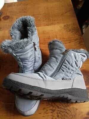 Pavers Grey Water Repellent Fur Lined Ankle Boots Size 5 Zipped • 10£