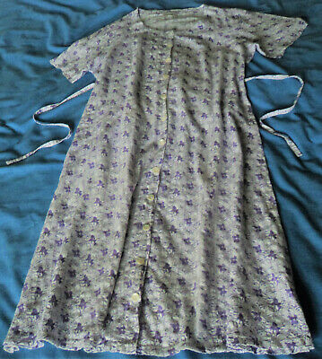 £6.99 • Buy Patra. Lilac & White Floral Button Front Calf Length Cotton Dress. Side Ties. L.