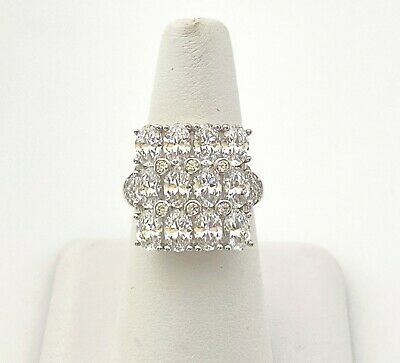 $ CDN12.03 • Buy Gorgeous Sterling Silver Cocktail Ring Clear CZ HSN QVC Sz 8 Signed K*