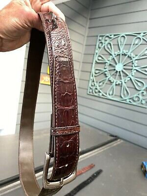 $95 • Buy CROCODILE  HORNBACK Authentic Limited Edition Brown Leather Belt 34
