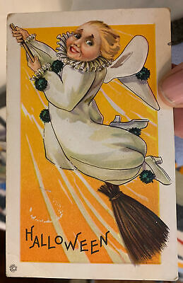 $ CDN22.37 • Buy Halloween Postcard Of A White Witch Flying On A Broomstick  About 1910