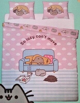 Pusheen Cat Sloth So Lazy Cant Move King Size Duvet Cover Set Reversible Bedding • 54.95£