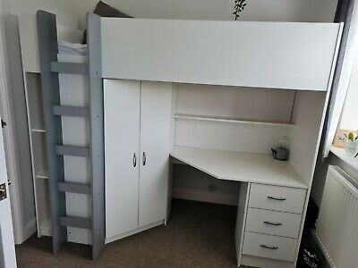 £30 • Buy Calder High Sleeper Cabin Bed With Desk Wardrobe Drawer In White