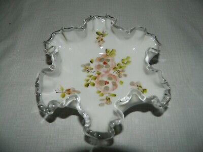 $19.99 • Buy Fenton Milk Glass Silver Crest Ruffled Bowl With Painted Pansies