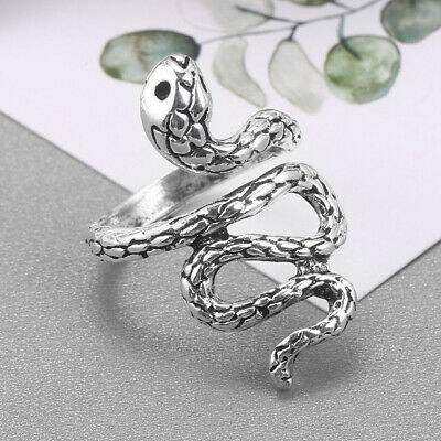 £1.22 • Buy Gothic Punk 925 Silver Men Women Snake Ring Party Jewelry Open Adjustable Rings