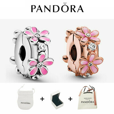 AU21.83 • Buy New 100% Authentic Pandora Silver Pink Daisy Flower Clip Charm Bead ALE/BAG+BOX