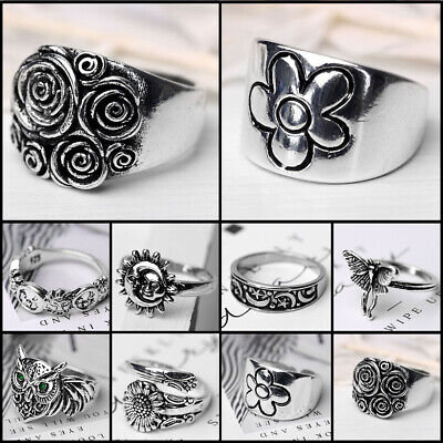 £2.69 • Buy Vintage 925 Silver Men Women Flower/Snake/Moon Ring Band Party Animal Jewelry