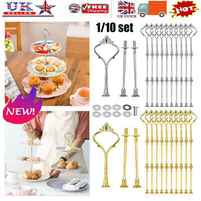 £2.41 • Buy 3 Tier Cake Cupcake Plate Gold Stand Rack Fittings Handle Rod Wedding Party UK