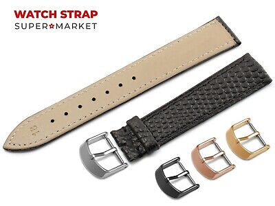 For OMEGA Watch Genuine Leather SNAKE Pattern BLACK Strap Band Buckle Clasp • 10.45£