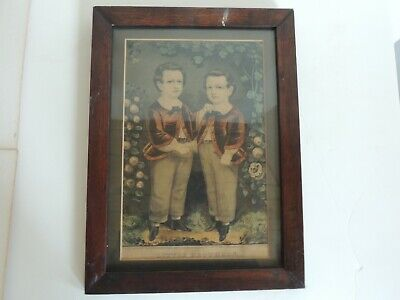 $ CDN60.45 • Buy Antique Currier & Ives LITTLE BROTHERS Framed Lithograph Art Print Hand Tinted