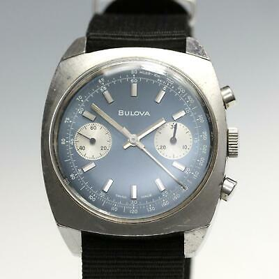 $ CDN604.59 • Buy Vintage Bulova Chronograph Valjoux 7733 Blue Dial Stainless Steel Men's Watch