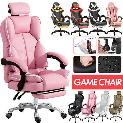 AU139.88 • Buy Office Racing Gaming Chair Footrest Leather Swivel Computer Desk Chairs Recliner