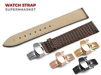 For OMEGA Watch Genuine Leather SNAKE Pattern DARK BROWN Strap Band Buckle • 11.95£