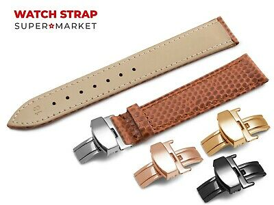 For OMEGA Watch Genuine Leather SNAKE Pattern BROWN Strap Band Buckle Clasp • 11.45£