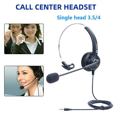 £9.39 • Buy 3.5mm Computer Headset Headphones Wired With Mic For Call Center PC Laptop Skype