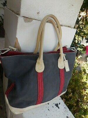 AU19.99 • Buy OROTON CHARCOAL GREY CREAM GuDEEP RED Distressed LEATHER + BIG TOTE + BAG