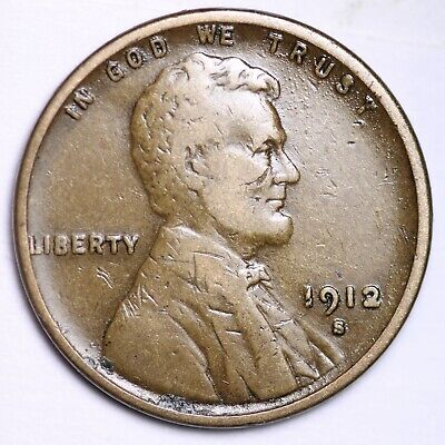$ CDN10.92 • Buy VF 1912-S Lincoln Wheat Cent Penny FREE SHIPPING