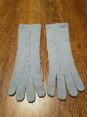 £0.99 • Buy Lovely Pale Pastel Blue Cable Knit Panel Front Smart Winter Ladies Gloves