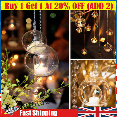 £8.54 • Buy Hanging Tealight Candle Holders Clear Glass Tea Light Bauble Wedding Party Decor