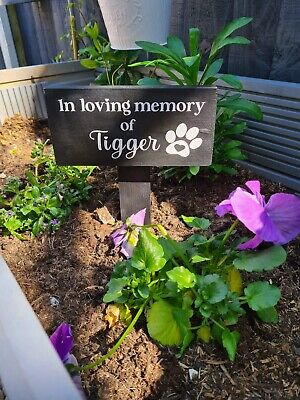 £13.49 • Buy Pet Dog Memorial Plaque Personalised Grave Marker Sign Cat Ground Stake Gift