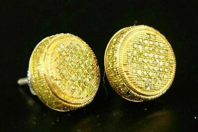 $110 • Buy 10K Yellow Gold Over 1.00CT Diamond Round Cut Mens Ladies Canary Stud Earrings