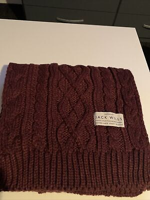 £6 • Buy Jack Wills Burgandy Wool Mix Cable Knit Scarf
