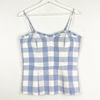 AU35.95 • Buy BNWT FOREVER NEW Women's Size 8 White Blue Check Linen Camisole Blouse Top