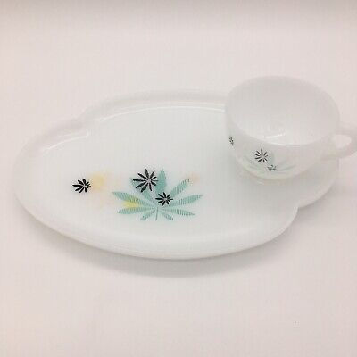 $12.95 • Buy Atomic Flower Pot Leaf White Federal Milk Glass Snack Plate Tray With Cup Set