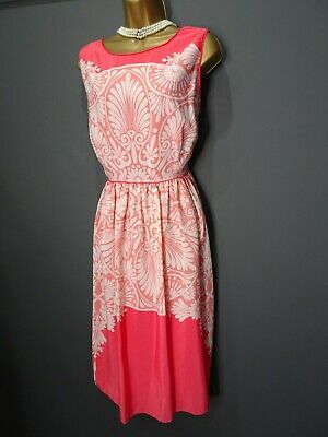 £0.99 • Buy Monsoon Coral & White Print Dress Size 20 Spring Summer