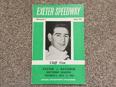£1.95 • Buy * EXETER V RAYLEIGH 2/5/63 Unmarked Speedway Programme