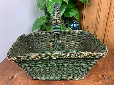 £24.99 • Buy Vintage Woven Green Willow Wicker French Shopping Egg Kitchen Storage Basket
