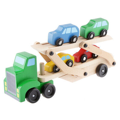$ CDN39.52 • Buy Wooden Car Transporter Double Decker Trailer Wood Car Ramp Toy Play Vehicles For