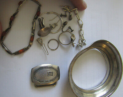 $ CDN12.10 • Buy Sterling Silver Lot Of Broken Jewelry And Other Scrap Silver Items, 45+ Grams